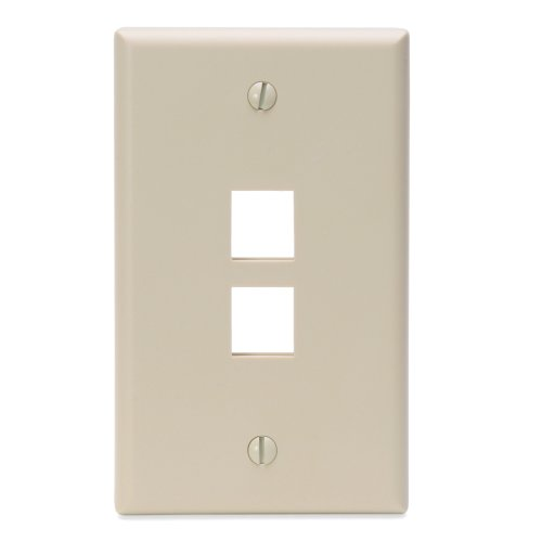 Leviton 41080-2IP 2-Port QuickPort Wall Plate, Lvory (Flush Plate Mount Wall Quickport)