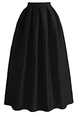 Omelas Women Pleated Maxi Skirt Satin Skirts High Waisted Long