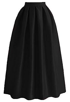 Omelas Women Pleated Maxi Skirt Satin Skirts High Waisted Long