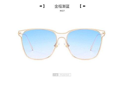 Chaozhou Gafas Bastidor Traslúcido Gradualmente Grande Señoras Sol Amantes Gafas Dorado oro Metal gradualmente Oscuras Cuadrado Gris Marco De Degradado De JUNHONGZHANG de Bastidor azul Los n7q6x0HHt