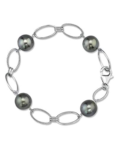 (THE PEARL SOURCE Sterling Silver 10-11mm Round Genuine Black Tahitian South Sea Cultured Pearl Bracelet for Women)