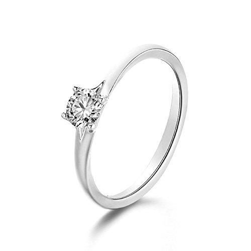 ANAZOZ 18K White Gold(Au750) SI D-E 0.5ct Diamond Wedding Rings White Gold Women