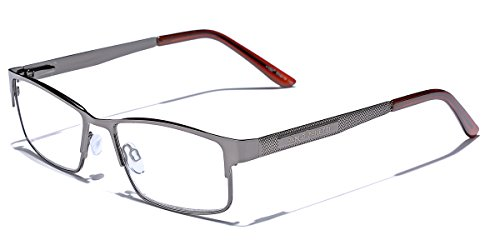 Metal Wire Rim Rectangular Frame Reading Glasses with Spring Hinge Various Strengths and Colors LARGE SIZE by Pablo Z (Image #2)
