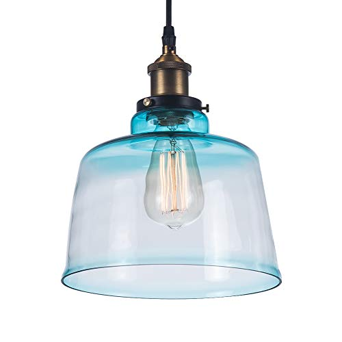 Kitchen Blue Glass Hanging Fixtures,Flush Mount Moden Pendant Light Ceiling Lamps,for Dining Room Living Room Bedroom Entrance Aisle and Farmhouse.