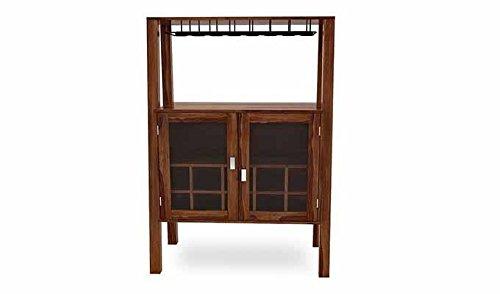 Aprodz Sheesham Wood Wine Storage Samez Stylish Bar Cabinet for Living Room   Teak Finish
