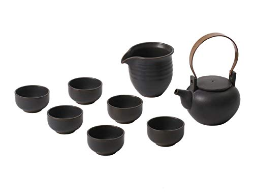Globe Faith ECO Friendly Ceramic Tea Set of 6 Cups for Adults Healthy Life, Zen Style Pottery Tea Service Set with Bent Copper Handle, Authentic Tea Wares 8 Piece Easy for Use, Antique Copper Black,