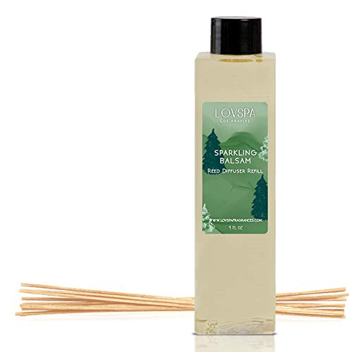 LOVSPA Sparkling Balsam Reed Diffuser Oil Refill with Reed Sticks - Christmas Tree Scent with Pine, Fir Needles, Birch Wood and Amber - Made with Natural Essential Oils - 4 Ounces (Tree Scents Christmas)