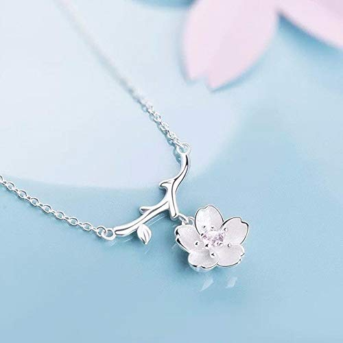 Tanakorn Silver Sakura Flower Necklaces & Pendants Cherry Blossoms with Chain Choker Necklace Jewelry Collar Colar