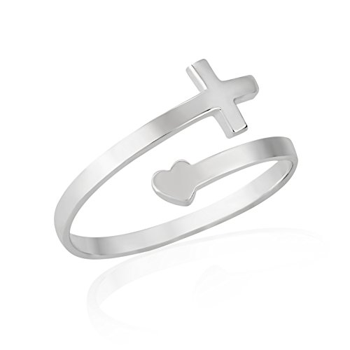 925 Sterling Silver Cross and Heart Wrap Around Adjustable Ring, Sizes 6-9