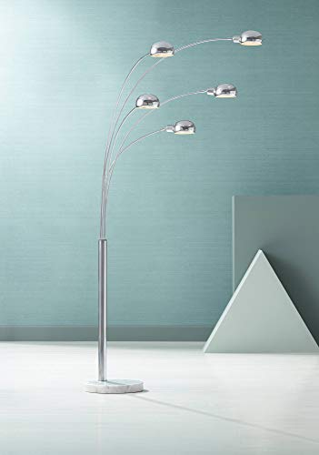 Infini Mid Century Modern Arc Floor Lamp 5-Light Chrome Marble Base Swivel Dome Shades for Living Room Reading - Possini Euro Design (Marble Bases Lamp)