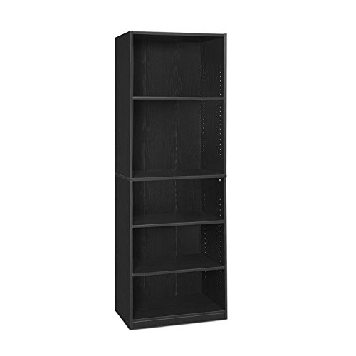 FURINNO JAYA Simply Home 5-Shelf Bookcase, 5-Tier, Black