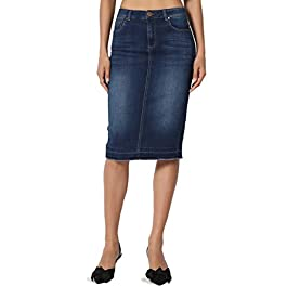Women's Wash Jean Pencil Knee Length Midi Stretch Soft Denim Skirt