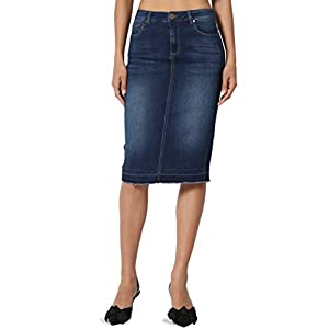 TheMogan Butt Lift Wash Jean Pencil Knee Length Midi Stretch Soft Denim Skirt
