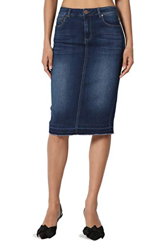 - TheMogan Women's Butt Lift Washed Blue Jean Pencil Midi Soft Denim Skirt Dark S