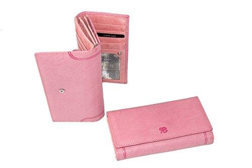 Cartera mujer RENATO BALESTRA rosa fuelle doble abertura con botón A4166