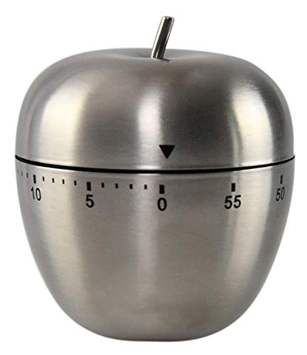 HOME-X Stainless Steel 60-Minute Mechanical Kitchen Timer (Apple), Unique Home Décor ()