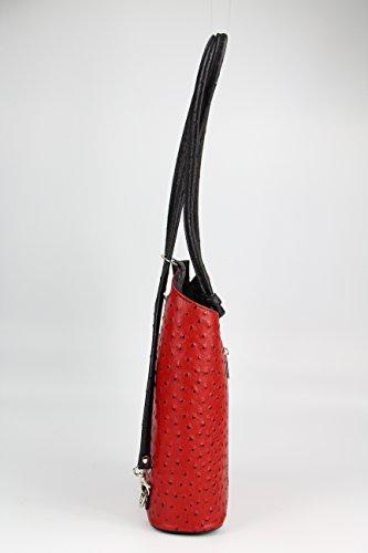 x Bolso en de bolso x 1 Rot strauss de anch 28 para x hombro 2 mujer prof schwarz 28 alt cm ital 8 x BELLI mochila piel X5Paaq