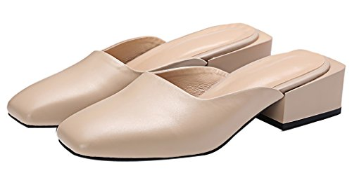Calaier Mujer Caever Bloquear 4CM Cuero Ponerse Zuecos Zapatos Beige