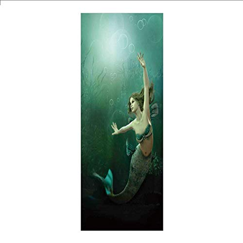 3D Decorative Film Privacy Window Film No Glue,Mermaid,Computer Graphics of Mermaid Underwater Life Picture Dreamlike Design,Jade Green Teal Ivory,for Home&Office