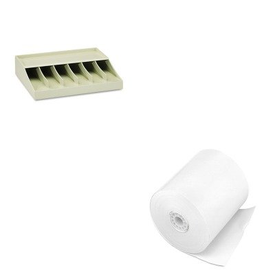 KITMMF210470089PMC07702 - Value Kit - Pm Company Single-Ply Cash Register/POS Rolls (PMC07702) and MMF Bill Strap Rack (MMF210470089)