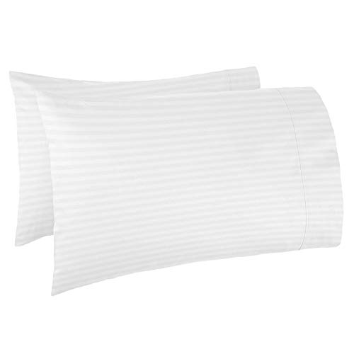Luxury Soft Pillowcases-Set King White - Damask Dobby Striped 2-Pack Pillow Cases - Elegant Ultra Soft and Hypoallergenic, Comfortable, Durable, Cool and Breathable Decorative Pillow Cover Set