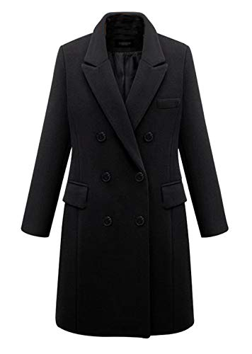 chouyatou Women's Basic Designed Notch Lapel Double Breasted Mid-Long Wool Pea Coat (X-Large, - Coats Womens Wool Black