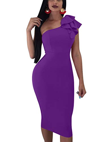 Mokoru Women's Sexy Ruffle One Shoulder Sleeveless Bodycon Party Club Midi Dress, XX-Large, Purple