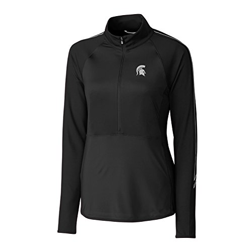 NCAA Michigan State Spartans Women's CB Drytec Long Sleeve Pennant Sport 3/4 Zip Apparel, Small, Black