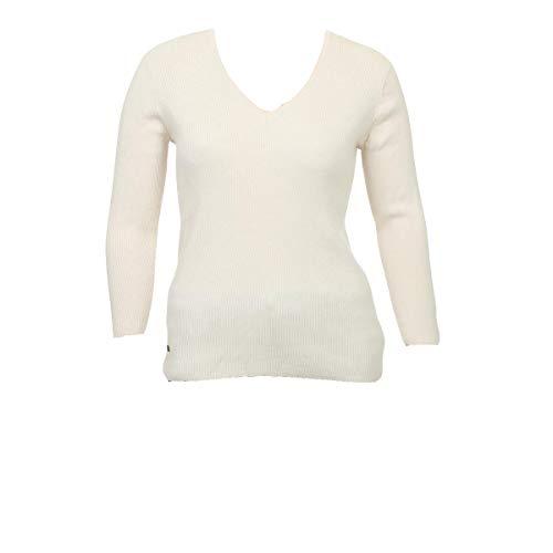 (LAUREN RALPH LAUREN Womens Ribbed Long Sleeve V-Neck Sweater Ivory XL)