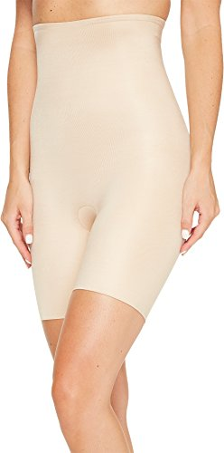 SPANX Women's Power Conceal-Her High-Waisted Mid-Thigh Short Natural Glam Large (Spanx Lust Have High Waist Half Slip)