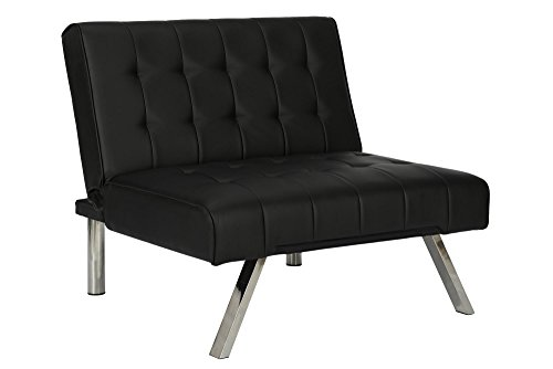 DHP Emily Accent Chair with Split-Back and Chrome Legs, Black Faux Leather - Futon Living Room Sets