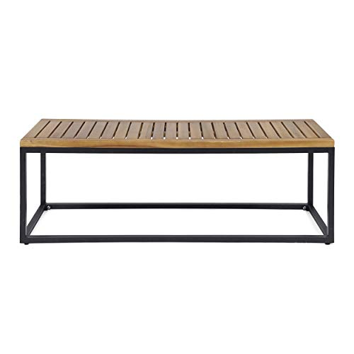 Great Deal Furniture 306428 Drew Outdoor Industrial Acacia Wood and Iron Bench, Teak and Black, Finish Metal