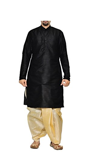MAG Men's Handmade Ethnic Traditional Wedding Silk Kurta Pyjama Set - Black Kurta and Light Gold Dhoti 38