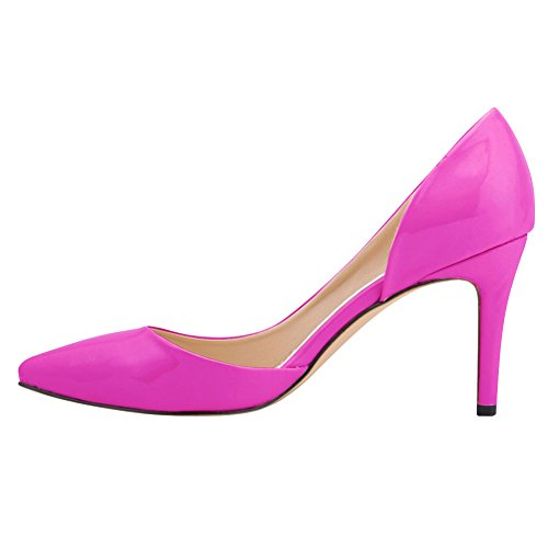 Fereshte Womens Elegant DOrsay Pointed-toe Slip On High Heels OL Pumps Purple YWCXU