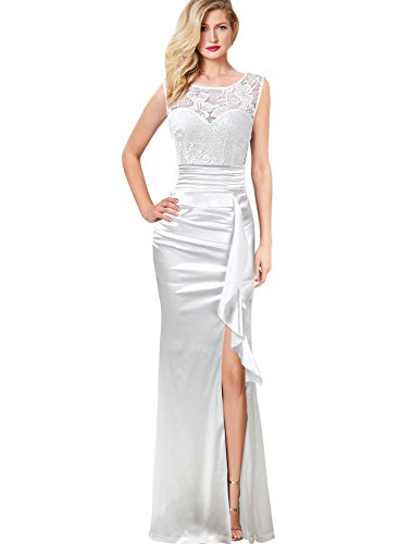 VFSHOW Women Floral Lace Ruched Ruffle Slit Prom Evening Wedding Maxi Dress 663 WHT - Dress White Satin