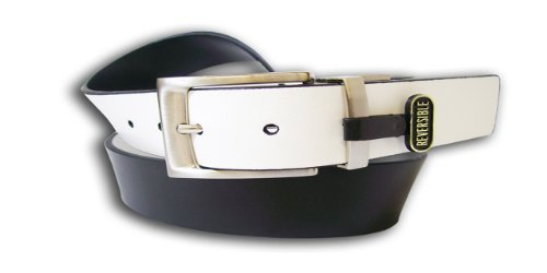 PGA TOUR Men's Twist Buckle Reversible Belt, White/Black, 44