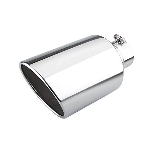 4 inch Inlet Diesel Truck Tailtip, 8 inch Outlet Exhaust Tip, 15 inch Length Muffler Tip, Rolled End Angle Cut