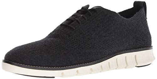 Cole Haan Men's Zerogrand Stitchlite OX Winterized Sneaker, Black Wool/Ivory, 9.5 M US