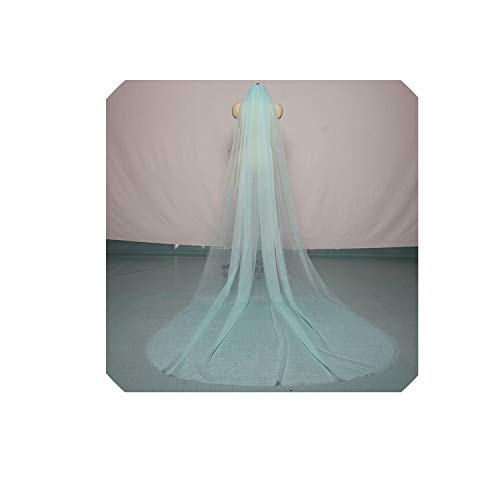 300cm150cm Sky Blue Two Layer Cathedral Bridal Veils with Comb,Red,300cm