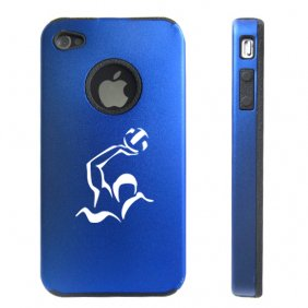 Apple iPhone 4 4S 4 Blue D2804 Aluminum & Silicone Case Cover Water Polo
