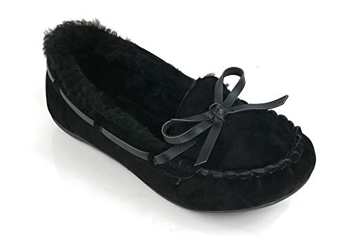 Blueberry Kid's Moccasin Faux Soft Suede with Fur Lining Slippers Loafer Shoes