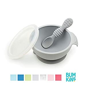 Bumkins Suction Silicone Baby Feeding Set, Bowl, Lid, Spoon, BPA-Free, First Feeding, Baby Led Weaning - Gray