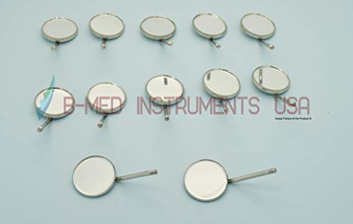 Pack of 12 Dental Mouth Mirrors #4 Simple Stem Dentist Dental Instruments by B-Med Instruments
