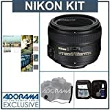 Nikon 50mm f/1.4G AF-S Nikkor Lens – Nikon U.S.A. Warranty – Accessory Bundle with Tiffen 58mm Photo Essentials Filter Kit, Lens Cap Leash, Digital Camera and Lens Cleaning Kit