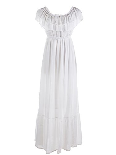 Anna-Kaci Womens Boho Peasant Ruffle Stretchy Short Sleeve Maxi Long Dress