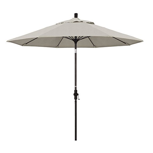 California Umbrella 9' Round Aluminum Pole Fiberglass Rib Market Umbrella, Crank Lift, Collar Tilt, Bronze Pole, Woven Granite Olefin