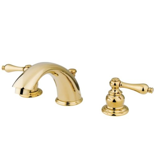 (Kingston Brass KB972AL Victorian Widespread Lavatory Faucet with Metal lever handle, Polished Brass)