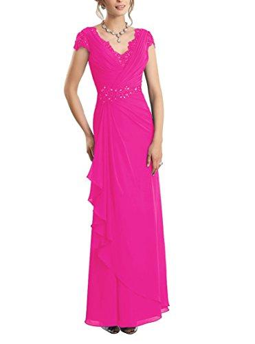 CJMY Women's A-Line V-Neck Sleeveless Formal Gown Chiffon Lace Sheath Bodice Fashion Mother Formal Evening Party Dress Fuchsia 18w ()