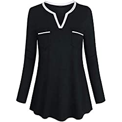 FEITONG Womens Tops and BlousesLong Sleeve Henley Shirt V Neck Casual Tunic Pockets(X-Large,Black)