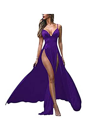 Yangprom Double Slit Long Prom Dresses for Women Sexy Deep
